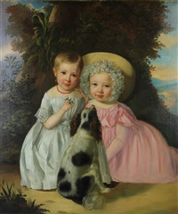 children with dog in a southern landscape by american school-southern (19)