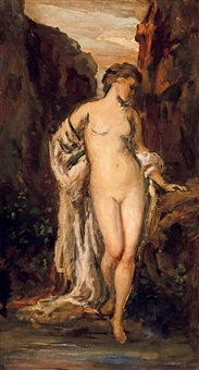 female nude with drapery (by the spring) by bertalan székely von adámos