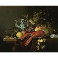 still life with a lobster on a pewter plate, lemons, grapes, apricots, oysters and a gold-mounted blue and white porcelain ewer, all on a wooden table top with a swallowtail butterfly by laurens craen