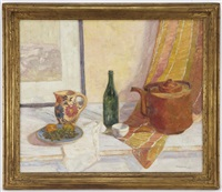untitled - still life with flowered jug by samuel p. ziegler