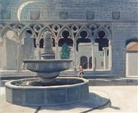 brunnen vor gotischen arkaden bei mondschein by gaetano gross