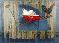 rooster in a wheelbarrow by graeme k. townsend
