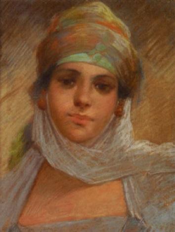 portrait de jeune orientale by edouard moyse