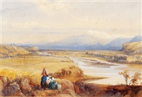 a mountainous italianate landscape, with figures resting in the foreground by james burrell smith