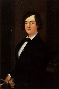 portrait of young student with quill pen and books by william w. kennedy