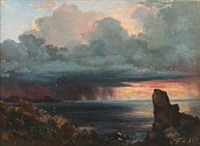 coastal scenery at kullen, sweden by carl frederik peder aagaard