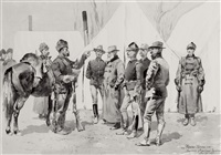 at the mouth of rapid creek general carr receiving the report of a scout by frederic remington