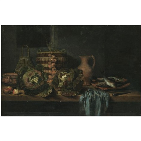 a still life with cabbages onions apples a knife wicker baskets and earthenware jugs on a table together with a plate of fish and a blue cloth by hubert van ravesteyn
