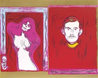 madonna & self-portrait with skeleton arm (after munch) by andy warhol