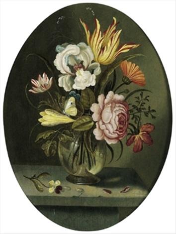 blumenstrauß mit tulpen einer rose und anderen blüten sowie einem zitronenfalter in einer gläsernen vase by abraham bosschaert