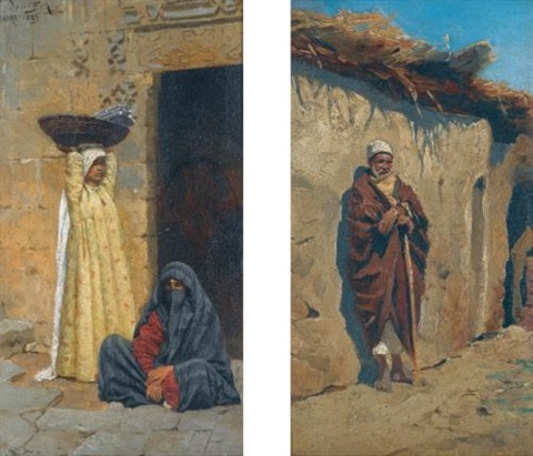 egyptian figures pair by ludwig deutsch
