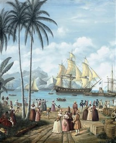 figures on a quayside with shipping beyond brazil by gustave louis michel alaux