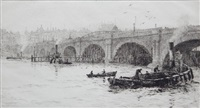 old waterloo bridge from the south bank by william lionel wyllie