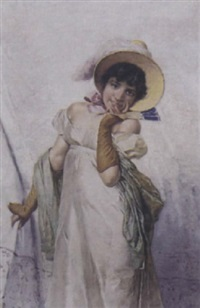 portrait de jeune fille à l'éventail by colombo