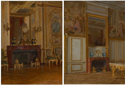 intérieur de fontainebleau another 2 works by walter gay