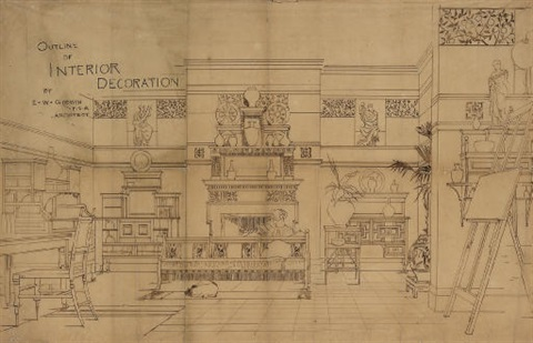 outline of interior decoration rare drawing by edward william godwin