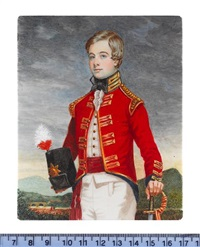 an officer of the 3rd dragoons, wearing scarlet coat with gold shoulder scales, white waistcoat, crimson waistsash and white breeches by michael bartlett
