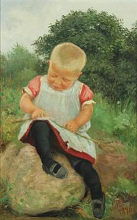 little girl playing with a stick by emilie (caroline e.) mundt