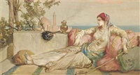 an odalisque on the terrace at dusk by jean françois portaëls