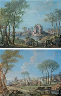 a capriccio of a mediterranean coastal inlet with figures amongst ruins (+ another; pair) by maria luigia raggi
