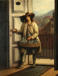 junger glasverkäufer by anton hoelperl