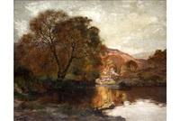 paisaje con rio y montaña by manuel abelenda