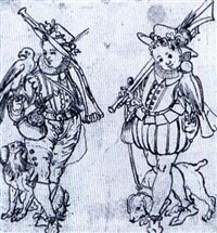 recto:study of two young boys each holding a musket and a  falon and a dog on a lead by daniel lindtmayer the younger