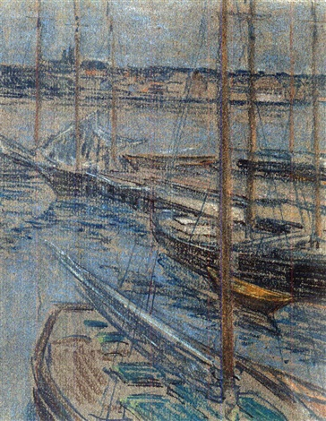 sailboats at dock rockport evening by charles salis kaelin