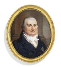 a gentleman, in double-breasted dark blue coat, white waistcoat and cravat, wearing the breast-star of an order, pillar and sky background on ivory by ferdinand machera