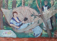 hamac et ombrelle by andré louis maxime humbert