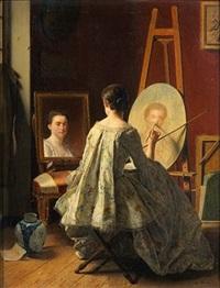 portrait d'une artiste réalisant son autoportrait by jean alphonse roehn