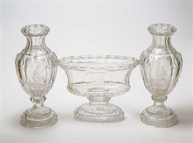vasensatz set of 3 by gräfliche harrachsche glasfabrik co
