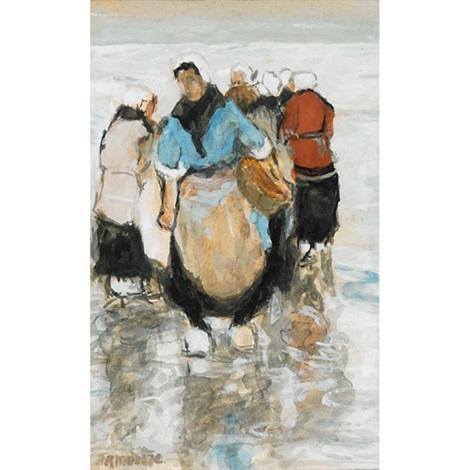 fisherwomen on the beach by gerhard arij ludwig morgenstjerne munthe