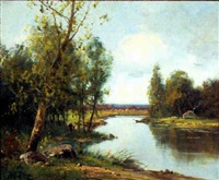 wooded lowland river with cottage and a village beyond by edma morisot