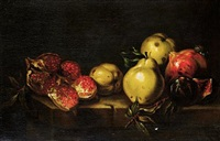 quinces, pomegranates and a fig with a snail on a table top by agostino verrocchi
