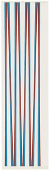 red crossing turquoise by bridget riley