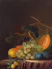 stillleben mit weintrauben, pfirsichen, zwetschken und einer melone by johann daniel bager