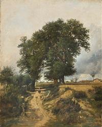 landschaft mit bäuerin auf einem weg by victor marie felix danvin