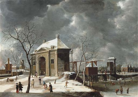 the heiligewegspoort from the north west with skaters on the frozen canal by abraham beerstraten