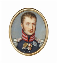 frederick william iii (1770-1840), king of prussia, in blue coat with red and silver braided collar and silver epaulettes by christian tangermann