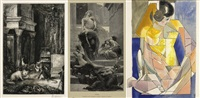 les fables de la fontaine/son of niobe/nude (set of 3) by gustave moreau