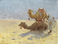 bedouin with their camels in the desert by william evans linton