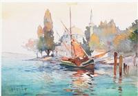 moored fishing boat on the mediterranean coast by marius hubert-robert