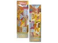 two painted wardrobe panels by john banting
