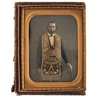 odd fellows member wearing a gold-tinted apron by american school (19)