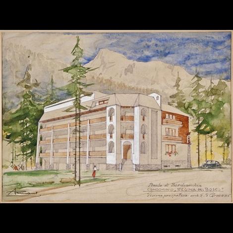 visione prospettica del condominio regina del bosco by ernesto giuliano armani