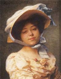 jeune femme au chapeau by emile pierre metzmacher