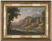 a rocky river landscape with figures and a fishing boat by a waterfall and a wooded river landscape with travellers on a path crossing a bridge (pair) by christoph ludwig agricola
