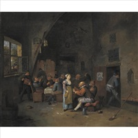 boors carousing and eating in a tavern by egbert van heemskerck the younger