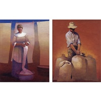farmer with stacks of grain (+ laundry woman, lrgr; 2 works) by gary ernest smith